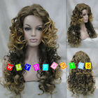 Fashion Ladies Long Cosplay Curly Natural hair Wigs brown blond mixed + Wig Cap