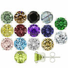 925 Sterling Silver 3mm to 6mm Natural Gemstones Stud Earrings