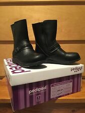 PEDIPED FLEX girl toddler shoes ISSA BLACK LEATHER size 10-10.5 boots