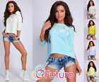 Party Asymmetric Top 3/4 Sleeve T-Shirt Boat Neck Casual Tunic Size 8-12 FT1824