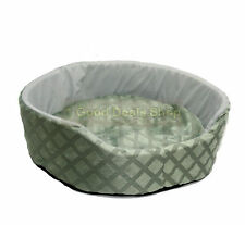 ROUND WASHABLE PET DOG PUPPY CAT BED CUSHION SOFT WARM BASKET GREEN  SMALL