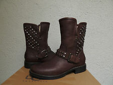 UGG RARE JAVA BROWN LEATHER/ SHEEPSKIN STUDDED BUCKLE BOOTS, US 7/ EUR 38 ~NEW