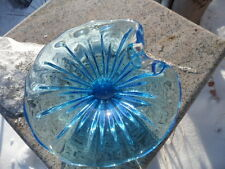 Mid Century Modern Blue Art Glass Sea Shell Dish Bowl Murano Vintage Chalet