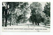 Andover MA Mass Main Street view South from Locke, trolley tracks, early