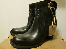 $140 Born Anny Black Leather Medium Heel Ankle Boots Booties Shoes Size 8.5 NWB