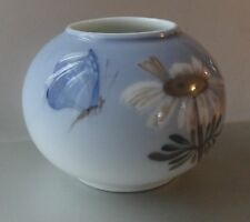 ROYAL COPENHAGEN DAISY BUTTERFLY MOTH Insect Vintage Porcelain SPHERE VASE AS IS