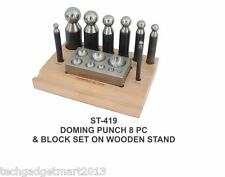 8 Pc Doming Punch and Block Set wooden stand st419