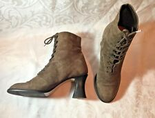 VTG Nine West Brown Suede Granny Ankle Boots Victorian Steampunk 7 M