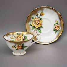 Royal Albert Yellow Rose Rich Gold Gilt Floral Tea Cup Saucer Avon Shape England