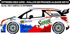 DECALS 1/43 CITROËN DS3 WRC #122 -KOSTKA - RALLYE DE FRANCE 2013 -MF-ZONE D43265