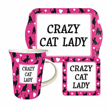 Crazy Cat Lady TEATIME SET REGALO-TAZZA, BISCOTTO VASSOIO E SOTTOBICCHIERI-MOTHER'S DAY