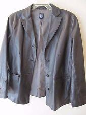 Womens Vintage Gap Genuine Leather Black Blazer Style Jacket Size Large
