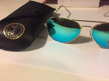 New Authentic Ray Ban Aviator RB3025 112/17 58mm Gold Frame Green Mirror Lens!!!
