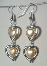Dangle earrings - heart glass pearl, heart frame, peach