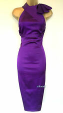 KAREN MILLEN PURPLE HALTERNECK PENCIL EVENING DRESS Size UK 12 10 EU 38 36