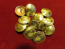 """Buttons: Set of 12 Brass 13/16""""  Eagle, Shield and Stars"""