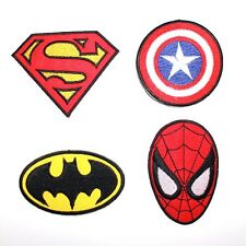 Set 4 Hero Spider Bat Superman Captain America Marvel DC Comic Movie Iron Patch