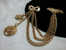 Vintage Gold Coro Chatelaine Maltese Cross Bow Ribbon Sweater Guard Scarf Pin