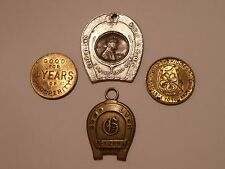 4 LOT VINTAGE GOOD LUCK CHARMS TOKENS