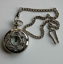 """Mens Pocket Watch. Filigree Design with Silver Coloured 14"""" chain and clip."""