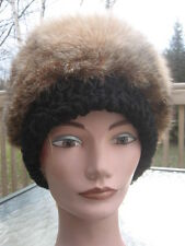 "#T20 men women montana lynx & BLACK LAMB fur hat size 22"" inches by 6""inches"