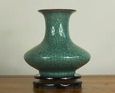 Chinese: Green crackle glazed celadon porcelain vase
