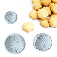 3pcs Sugarcraft Mould Fondant Cake Cutter Bakeware Decor Biscuits Mold # Shell