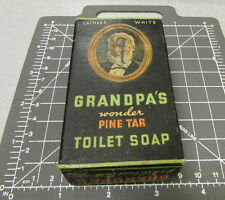 Vintage Grandpa's Wonder Pine Tar Toilet Soap  Box - has all flaps - no rips