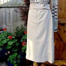 luxe new ELIE TAHARI ivory leather SKIRT+belt +silk lined UK14 US10 £595 bnwt