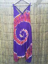 hippy hippie boho festival jumpsuit drop crotch harem baggy tie dye dungarees