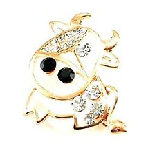 Gold tone cow brooch bag pin with crystal
