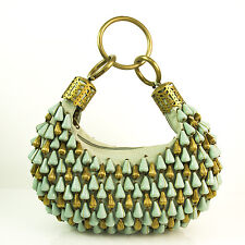 CHLOE Bracelet Turqoise Brass Beaded Handmade Hobo Hand Bag Rare Collectors Item