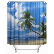 Tropical Beach Desert Island Palm Trees Blue Sea Bathroom Shower Curtain Hooks