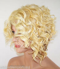 Baby Hair Lace Front Wig Blonde Curly Wedge Heat OK Iron safe stretch Hand Meg