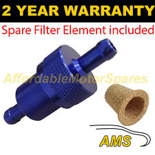 BLUE 8mm & SPARE ELEMENT METAL UNIVERSAL IN LINE FUEL FILTER ANODISED ALUMINIUM