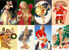 """Stickers sheet [8 stkrs 2.5""""x3.5"""" each] Vintage PinUp Christmas Girl Sexy 7120"""
