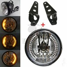 "8"" Motorcycle Headlight Amber LED Turn Signal Indicator With Black Mount Bracket"