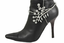 New Women Western Boot Bracelet Silver Metal Chain Leaf Anklet Shoe Flower Charm