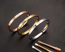 Stainless Steel Love Bangle Bracelet Woman Man Rose Gold SIlver Gift Popular New