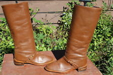 TALL VINTAGE BOHO BROWN LEATHER RIDING BOOTS 7 M