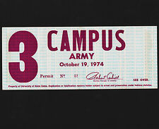 1974 University Notre Dame Campus Army Window Parking Permit