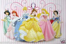 "DISNEY ""PRINCESSES IN GOWNS OVER PINK STRIPED WALLPAPER"" POSTER FROM ASIA"