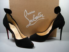 LOUBOUTIN Black Suede Barbara 100 Open Toe Pumps Heels Twisted Knot 38/7.5 NEW