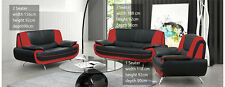 NEW PALERMO FAUX LEATHER 3+2 SEATER SOFA + ARMCHAIR BLACK RED WHITE CREAM BROWN