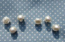 Half Pearl Ivory Shank Buttons Wedding Approx 9mm Pack of 6