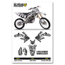 2004-2009 HONDA CRF 250 Zebra Motocross Graphics Dirt Bike Decal Sticker Kit