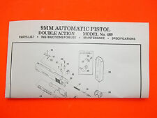 SMITH AND WESSON 9MM DOUBLE ACTION SEMI-AUTO MODEL 469 PISTOL MANUAL dated 1983