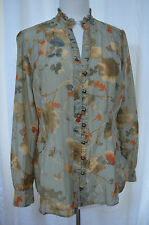 Coldwater Creek Floral Print Pintucked Ruffle Collar Blouse Metal Buttn Sz M New