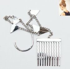 Ear cuff with hair comb/slide, funky item, silver