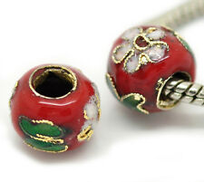 2PCS Red Pink Green Flowers Cloisonne Metal Beads for European Charm Bracelets